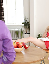 "Russian model Alecia loves to tease a guy. Bedrooms are optional. Give this slender, head-turning blonde a kitchen table and an apple... and she will remind you why Adam couldn't resist temptation by Eve. Imagine our surprise when Alecia girlishly raised her skirt, spread her lovely legs --  and revealed that she wasn't wearing panties. Instead, she slowly began playing with her wet pussy as her blue eyes sparkled at the guy across the room. Soon, he was licking Alecia's ""forbidden fruit"" and she was sucking something much larger than a banana! (Sorry, I couldn't resist saying that. Hee hee.) XOXO, Colette"