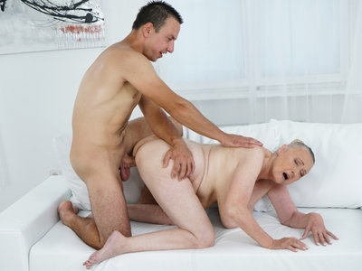 Lusty blonde granny want a young stallion in her pussy!