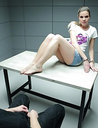 A really hot blonde was a very bad girl and turned in an interrogation room where she had to confess all her sins. In order to win over her police officer the cutie has to be very obedient.  Luckily, the babe is more than eager to satisfy the man with a long and fat cock. The hottie takes off her tight clothes and kneels to taste the massive cock. She is barely capable of sucking it off but still does it with passion. Then she rides the man's cock and puts it straight from her wet pussy inside the mouth. The hot fuck ends with splashes of semen on her lips and chin.