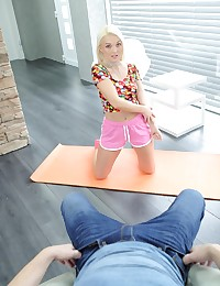 Sex-hungry blondie loves to do some stretching before work. A horny man spies on here. The hottie doesn't give him a cold treatment and joins the foreplay by caressing his huge aroused cock with her posh ass. The platinum blonde strips and kneels to suck that big dick. But blowing is not enough – the blondie wants to feel that big thing inside of her. The horny couple fuck right on the yoga mat and their passionate humping in the doggy style ends with another cumshot on the babe's lips.