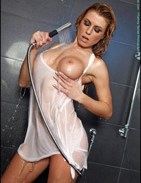 Where on her body can Randy get wet in a shower? Well if that shower head is strong and very movable, it's every area on her body that is over, under, inside and out. Absolutely true. Amazing. Now this is not just an ordinary shower head. It's a very strong stream of water. Randy gets totally soaked in her shirt, her nipples are showing through the soaked material. Then things get even more interesting as she moves that strong stream of water to shoot right up inside her pussy. I don't know about you; but I never can get enough of seeing Randy. She is one of the hottest models I know of. Sultry, sexy, sensuous and more. What about this set of photos here? Is it good? Wow. Let me tell you what, for me anyways it is awesome. So much variety of sensuality. If you're a fan of Randy, I think you will want this set for sure. If you're not a fan already, this set should make you a fan for sure.