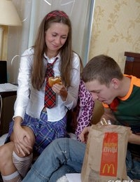 Playful brunette Slovak teen schoolgirl June gives head and gets butt fucked