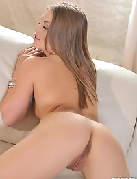 Alessandra Jane Russian babe plays with fingers on the sofa