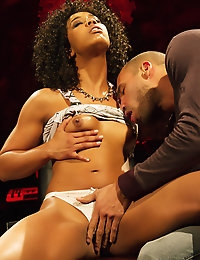 Misty Stone is a radio dj and has big plans for Karlo Karrera on top of her desk.