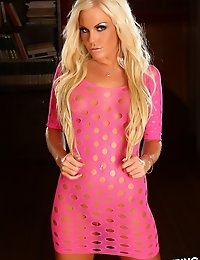 Busty blonde Alluring Vixen babe Ivy teases in her skin tight pink dress full of holes