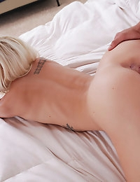 Luscious blonde Halle Von shows off her yummy blowjob skills then takes her man for a slick sweet bald pussy ride