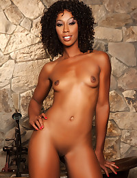 Ebony goddess Misty Stone undresses to take a nice hot bath in a copper tub.