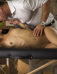 Veronica Rodriguez bends over on a massage bed and gets fucked