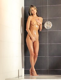 Cock hungry spinner Gina Gerson steps out of the shower and into her lovers arms for a bald pussy fuck fest