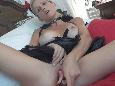 Slutty housewife Jolene fucks her big toy while she strokes and sucks a stiff cock
