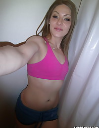 Cute teen girlfriend strips naked and takes selfshot pictures of her wet pink pussy
