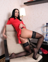 Gorgeous Macy looks hot in her red dress and fancy black stockings