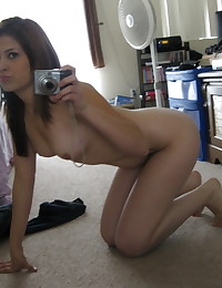 Beautiful girlfriend takes selfshot pictures of her perfect perky tits in the mirror