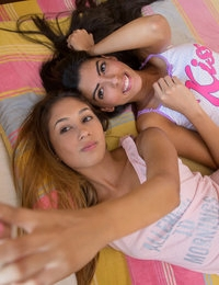 Anastassia Delgado and Angela Diaz use mouths fingers and a remote controlled vibrator to pleasure each others pussies